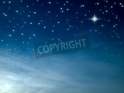 Fototapeta Starry night many bright star in blue sky