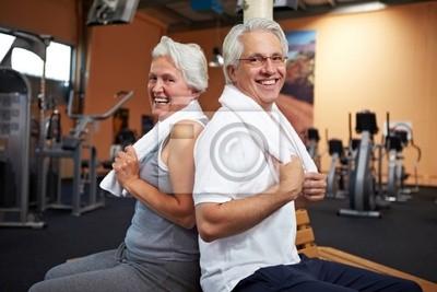 Starszy para na siłowni