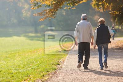 Fototapeta Starszy para obywatel spacer w parku podczas jesieni rano.
