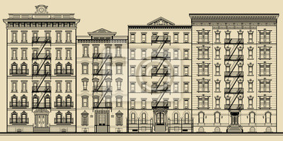 Stary budynek, a elewacje z Nowego Jorku