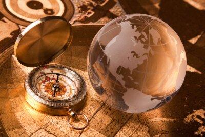 Fototapeta Stary kompas i na świecie
