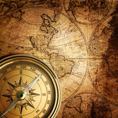 Fototapeta stary kompas na mapie rocznika 1746
