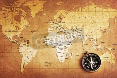 Fototapeta Stary kompas na tle mapy skarbów