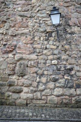 Fototapeta Stary mur z latarnią