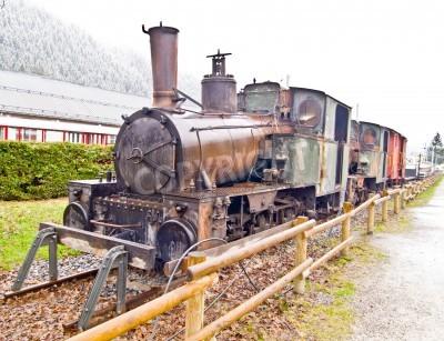 Fototapeta Stary pociąg parowy na stacji Chamonix Mont Blanc, Francja