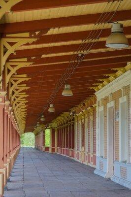 Fototapeta Stary styl vintage platformą stacja kolejowa w Haapsalu, Estonia