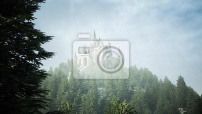 Fototapeta Stary zamek bajkowy na wzgórzu. widok z lotu ptaka. Renderowania 3d.