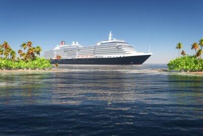 Fototapeta Statek i tropikalna wyspa