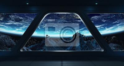 Fototapeta Statek kosmiczny futurystyczny wnętrze z widokiem na planecie Ziemia