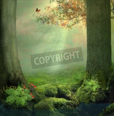Fototapeta Staw i dwa duże drzewa w lesie w piękny dzień z promieniami światła między liśćmi