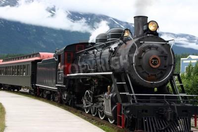 Fototapeta steam engine train leaving the station full of tourists