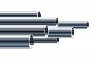 Fototapeta Steel or Aluminum pipes of different diameters isolated on white background. Glossy 3d Steel Tubes design. Industrial Vector illustration.