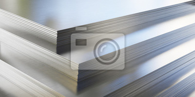 Fototapeta Steel or aluminum sheets in warehouse, rolled metal product.