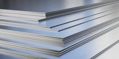 Fototapeta Steel sheets in warehouse, rolled metal product.