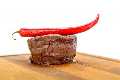 Fototapeta Stek na talerzu drewna