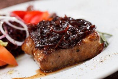 Fototapeta stek wołowy z sałatką