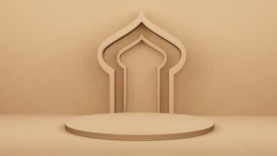 Fototapeta Step Stage Podium  Stage backdrop with Arabic arch . 3d rendering
