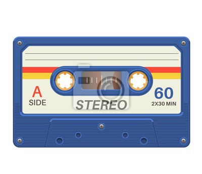 Fototapeta Stereo cassette. Retro audio tape with music record for vintage poster 80s isolated vector object