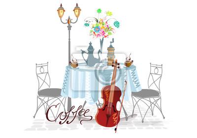 Stół nakryty do picia kawy