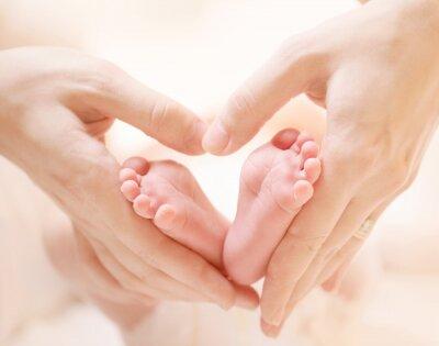 Fototapeta Stópki noworodka w rękach kochającej mamy ułożone na kształt serca