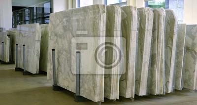 Fototapeta stosy marmurowej płyty - fabryka przemysłu marmurowego, praca marmuru we Włoszech