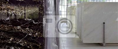 Fototapeta stosy marmurowych płyt - fabryka przemysłu marmurowego, praca marmuru we Włoszech, luksusowy materiał wnętrza