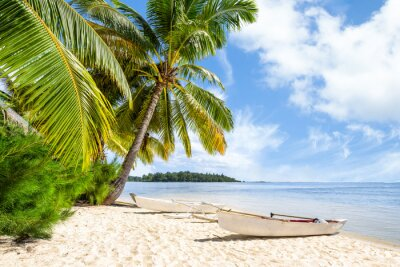 Fototapeta Strandurlaub am Meer mit Palmen und Weißem Sandstrand