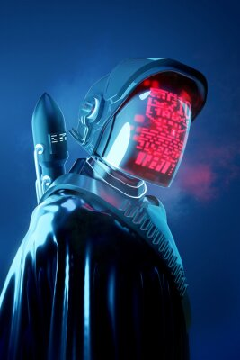 Fototapeta Strange Human model in a futuristic space outfit. Technology and people 3D illustration.