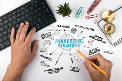 Fototapeta strategia marketingowa Concept. Wykres ze słowami kluczowymi i ikonami. ręce na biurko robiąc biznes
