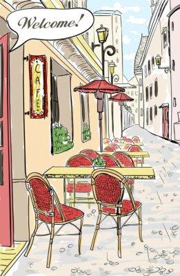 Fototapeta Street cafe w starym mieście szkic ilustracji