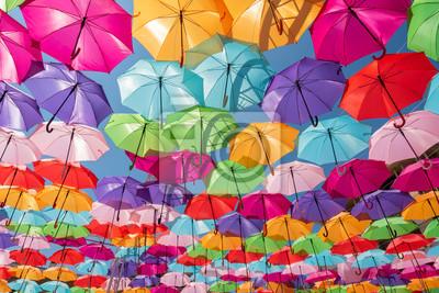 Fototapeta Street decoration colorful umbrellas background