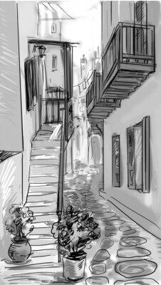 Fototapeta street - fasady starych domów w mieście