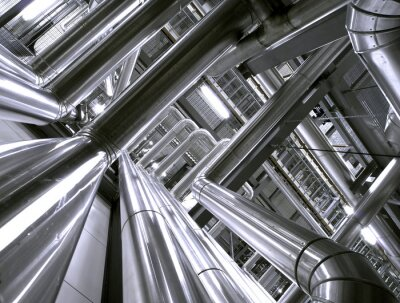 Fototapeta Strefy przemysłowej, stali rurociągi i kable
