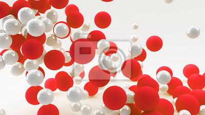 Fototapeta Streszczenie 3d tła z kulkami czerwone i białe