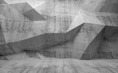 Fototapeta Streszczenie ciemne wnętrze z betonu 3d wzór na wielokąta