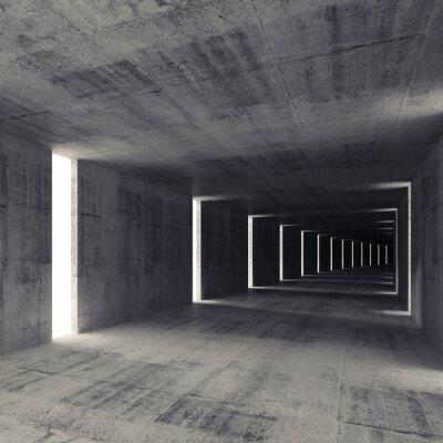 Fototapeta Streszczenie ciemny tunel pusty beton wnętrze, 3d tle