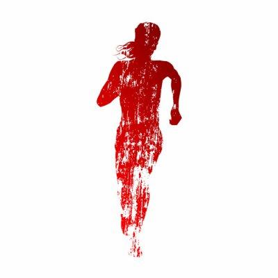Fototapeta Streszczenie czerwonym sylwetka kobiety działa