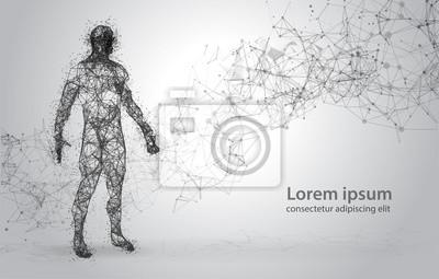 Fototapeta Streszczenie drutu ramki ludzkiego ciała. Poligonalny 3d model na białym tle. Kropki i linie Low Poly