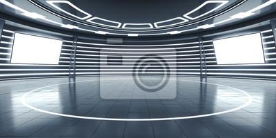Fototapeta Streszczenie futurystyczne wnętrze z świecące panele
