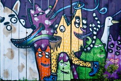 Fototapeta Streszczenie graffiti na drewnianym płotem
