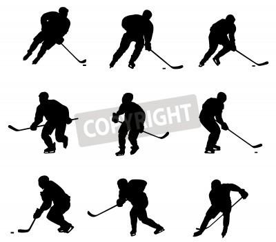 Fototapeta Streszczenie ilustracji wektorowych hokeista sylwetka