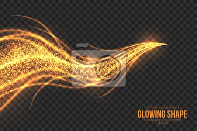 Fototapeta Streszczenie jasne złote migotanie świecące spalanie kształtu na przezroczystym tle ilustracji wektorowych