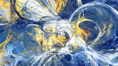 Streszczenie jasny skład ruchu. Nowoczesne futurystyczne dynamiczne tło. Niebieski i żółty kolor artystyczny wzór farb. Fraktalna grafika do kreatywnego projektowania graficznego