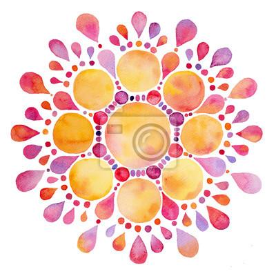 Streszczenie Kolorowe akwarela słońce