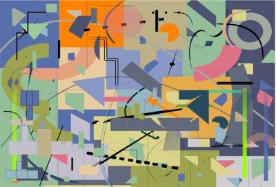 Fototapeta streszczenie kolorowe tło, ozdobne kształty geometryczne i zakrzywione, zielony, niebieski, pomarańczowy