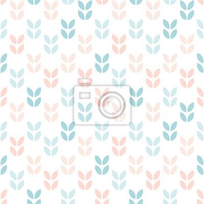 Streszczenie kwiatowy wzór bez szwu. Geometryczne liście w skandynawskim stylu w pastelowych kolorach. Tapeta wektor