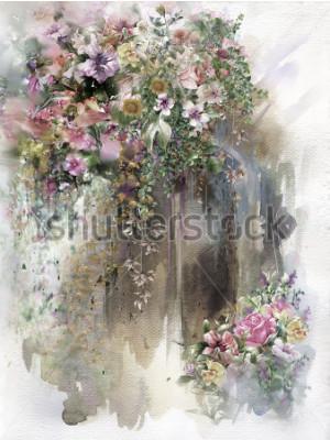 Fototapeta Streszczenie kwiaty na ścianie akwarela malarstwo. Wiosna wielobarwne kwiaty