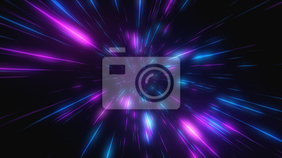 Fototapeta Streszczenie lot w retro neon hiper-warp przestrzeni w tunelu 3d ilustracji