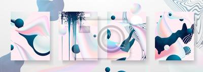 Fototapeta Streszczenie płynne szablony kreatywne, karty, zestaw pokrowców kolorów. Geometryczny wzór, płyny, kształty. Modna kolekcja wektor. Pastelowy i neonowy projekt, geometryczny płynny graficzny kształt w