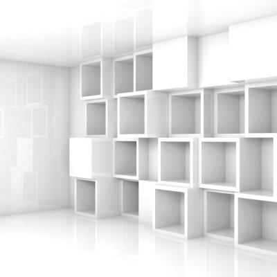 Streszczenie Pusty 3d Wnętrze Białe Kostki Półki Na ścianie Fototapety Redro